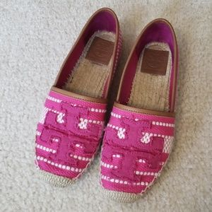 Tory Burch Pink & White Canvas Espadrilles Size 6